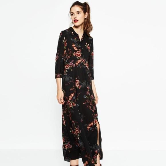 60dd3ada Zara Dresses | Navy Floral Maxi Dress | Poshmark